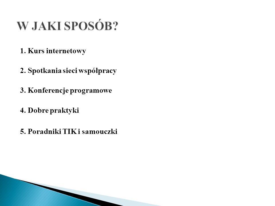 1. Kurs internetowy 2. Spotkania sieci współpracy 3. Konferencje programowe 4. Dobre praktyki 5. Poradniki TIK i samouczki