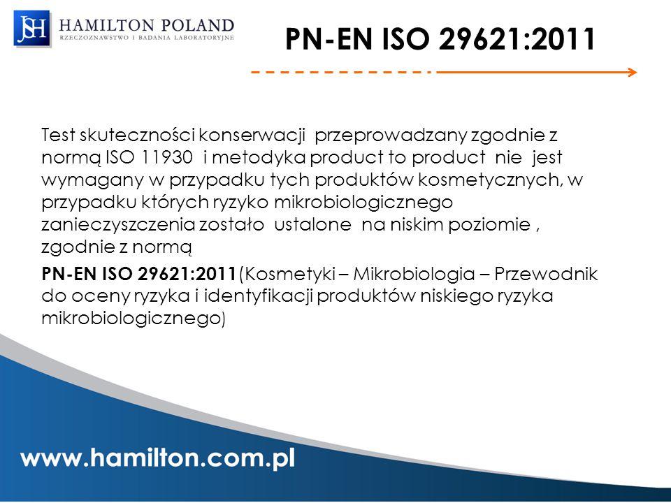 PN-EN ISO 29621:2011 Test skuteczności konserwacji przeprowadzany zgodnie z normą ISO 11930 i metodyka product to product nie jest wymagany w przypadk