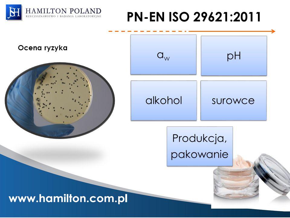 PN-EN ISO 29621:2011 Ocena ryzyka aw pH alkohol surowce Produkcja, pakowanie