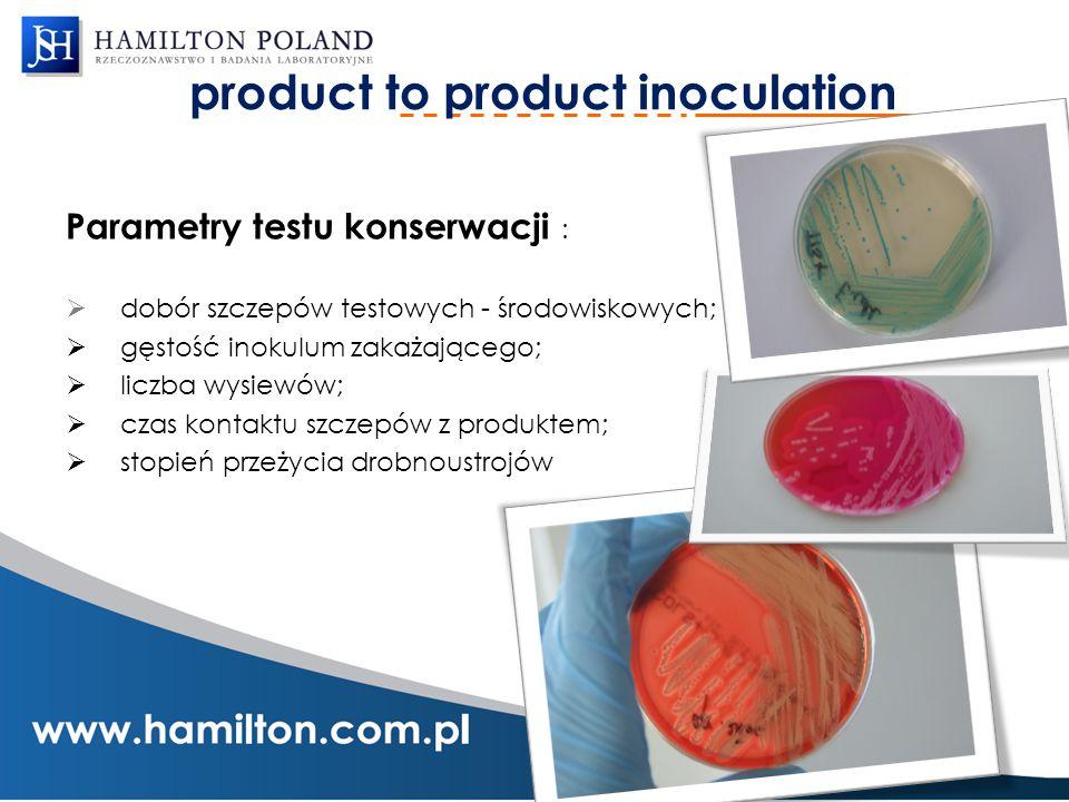 product to product inoculation Parametry testu konserwacji :  dobór szczepów testowych - środowiskowych;  gęstość inokulum zakażającego;  liczba wy