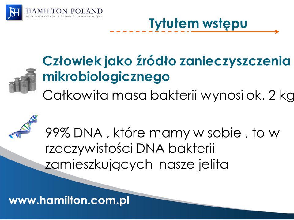 Tytułem wstępu Człowiek jako źródło zanieczyszczenia mikrobiologicznego Całkowita masa bakterii wynosi ok. 2 kg 99% DNA, które mamy w sobie, to w rzec