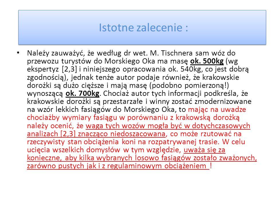Istotne zalecenie : Należy zauważyć, że według dr wet. M. Tischnera sam wóz do przewozu turystów do Morskiego Oka ma masę ok. 500kg (wg ekspertyz [2,3