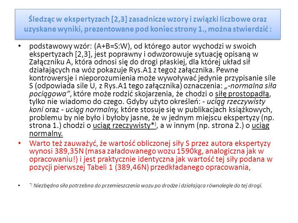 Śledząc w ekspertyzach [2,3] zasadnicze wzory i związki liczbowe oraz uzyskane wyniki, prezentowane pod koniec strony 1., można stwierdzić : podstawow