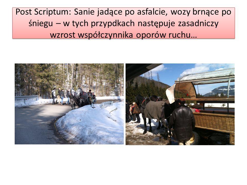 Post Scriptum: Sanie jadące po asfalcie, wozy brnące po śniegu – w tych przypdkach następuje zasadniczy wzrost współczynnika oporów ruchu…