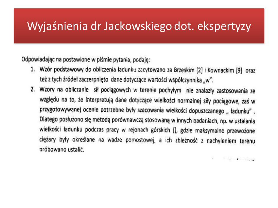 Wyjaśnienia dr Jackowskiego dot. ekspertyzy