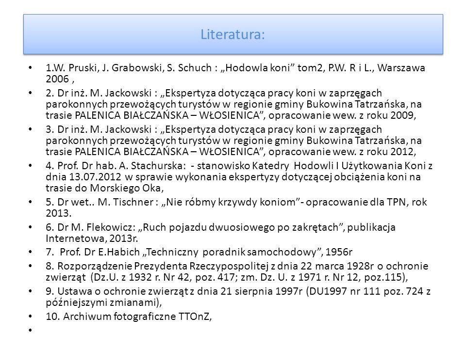 """Literatura: 1.W. Pruski, J. Grabowski, S. Schuch : """"Hodowla koni"""" tom2, P.W. R i L., Warszawa 2006, 2. Dr inż. M. Jackowski : """"Ekspertyza dotycząca pr"""
