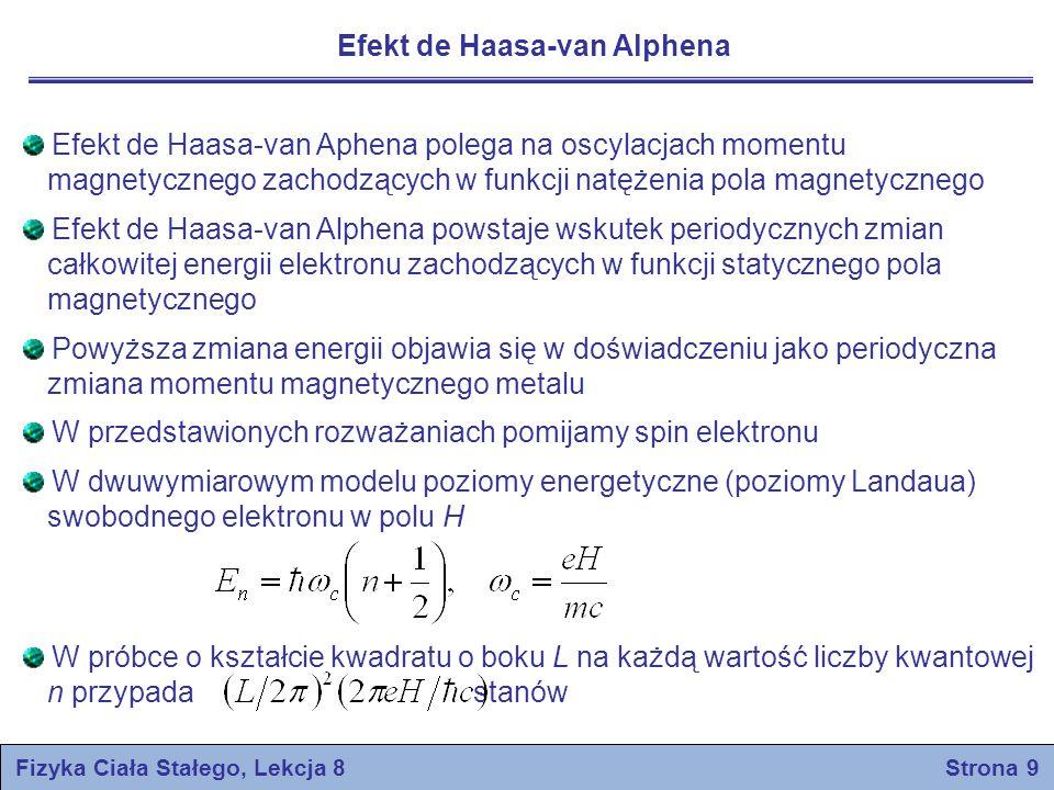 Efekt de Haasa-van Alphena Efekt de Haasa-van Aphena polega na oscylacjach momentu magnetycznego zachodzących w funkcji natężenia pola magnetycznego E