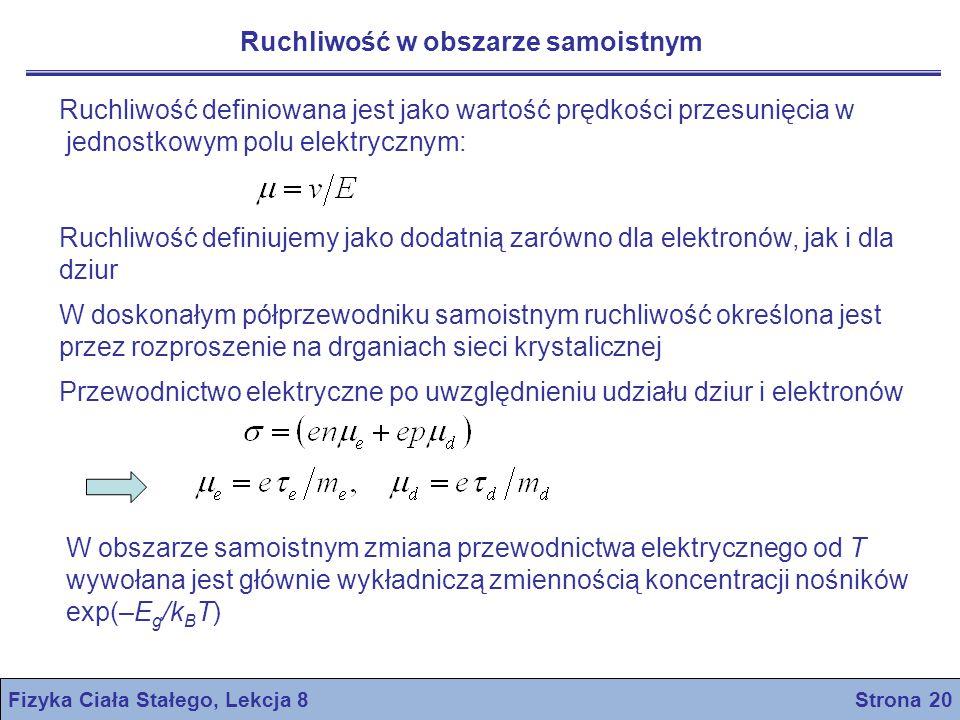Fizyka Ciała Stałego, Lekcja 8 Strona 20 Ruchliwość w obszarze samoistnym Ruchliwość definiowana jest jako wartość prędkości przesunięcia w jednostkow