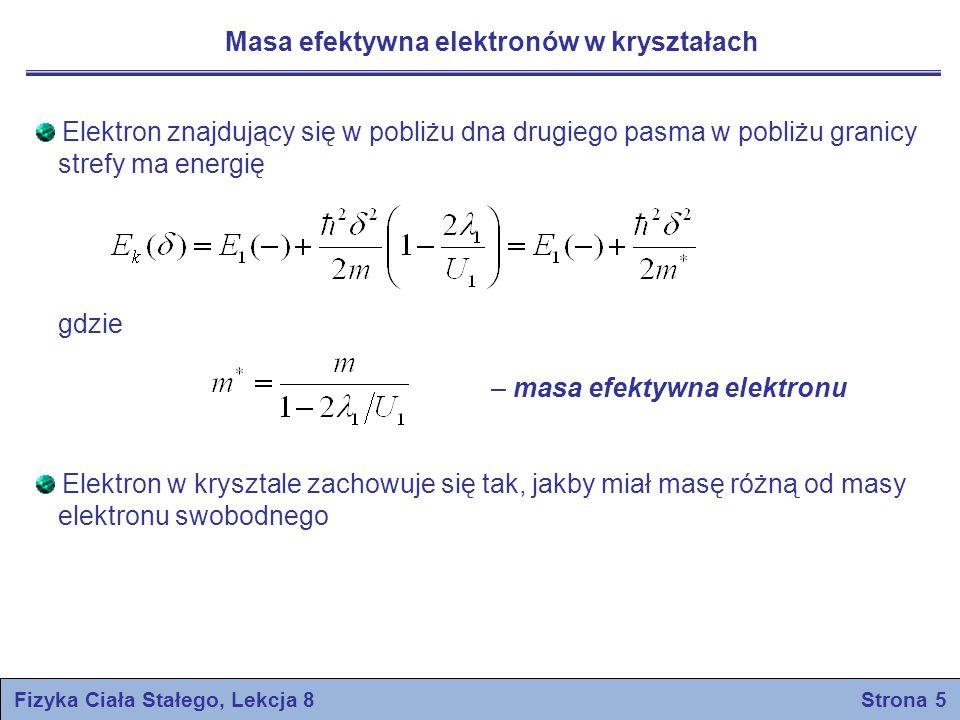 Fizyka Ciała Stałego, Lekcja 8 Strona 16 Prawo działania mas pasmo przewodnictwa pasmo walencyjne poziom Fermiego Obliczmy liczbę elektronów w zależności od potencjału chemicznego μ Energię E mierzymy począwszy od szczytu pasma walencyjnego Przyjmujemy że dla pasma przewodnictwa E–μ >> k B T oraz że funkcja Fermiego-Diraca przyjmuje uproszczoną postać Przypuśćmy, że w paśmie przewodnictwa Liczba stanów o energiach między E i E+dE