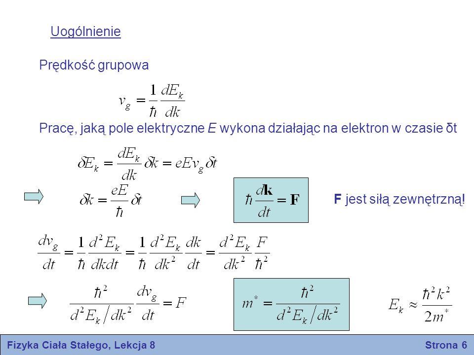 Fizyka Ciała Stałego, Lekcja 8 Strona 6 Uogólnienie Prędkość grupowa Pracę, jaką pole elektryczne E wykona działając na elektron w czasie δt F jest si
