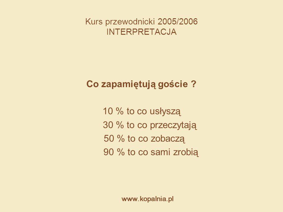 www.kopalnia.pl Kurs przewodnicki 2005/2006 INTERPRETACJA Co zapamiętują goście ? 10 % to co usłyszą 30 % to co przeczytają 50 % to co zobaczą 90 % to