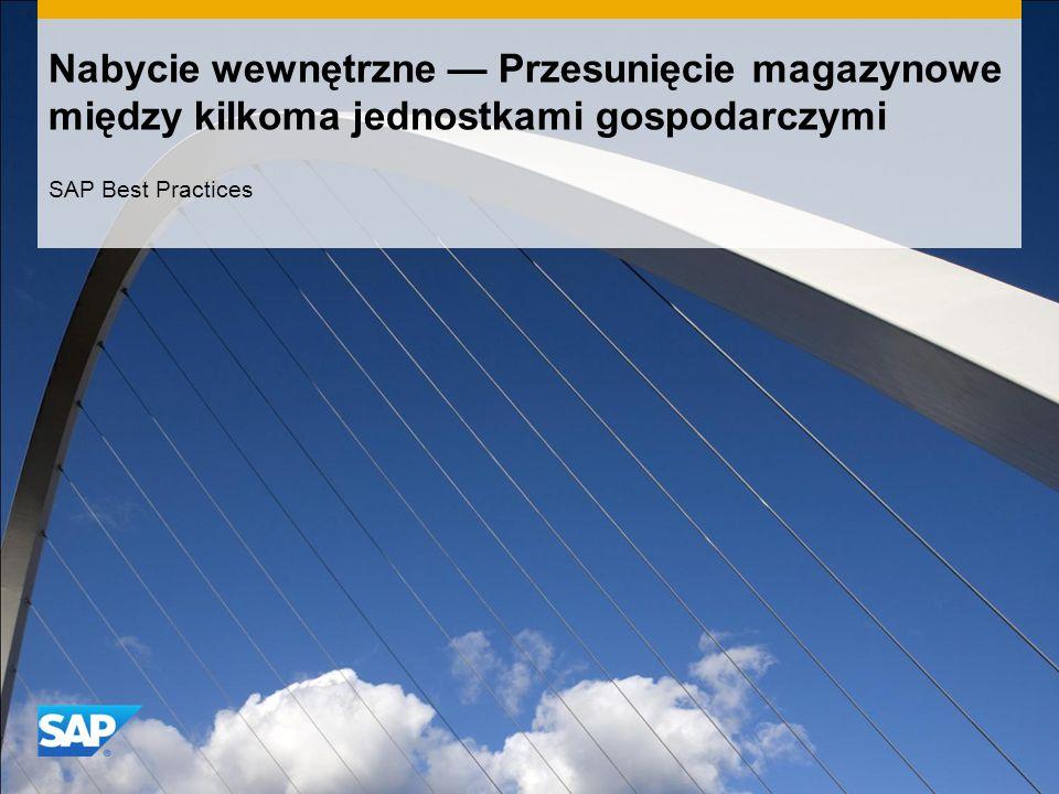 Nabycie wewnętrzne — Przesunięcie magazynowe między kilkoma jednostkami gospodarczymi SAP Best Practices