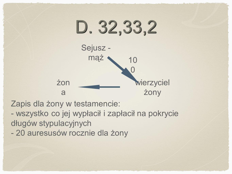 D. 32,33,2 wierzyciel żony Sejusz - mąż żon a Zapis dla żony w testamencie: - wszystko co jej wypłacił i zapłacił na pokrycie długów stypulacyjnych -