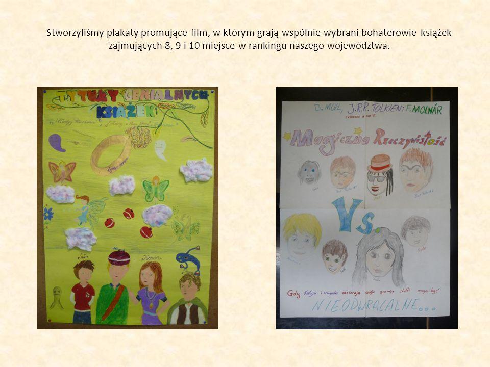 Stworzyliśmy plakaty promujące film, w którym grają wspólnie wybrani bohaterowie książek zajmujących 8, 9 i 10 miejsce w rankingu naszego województwa.