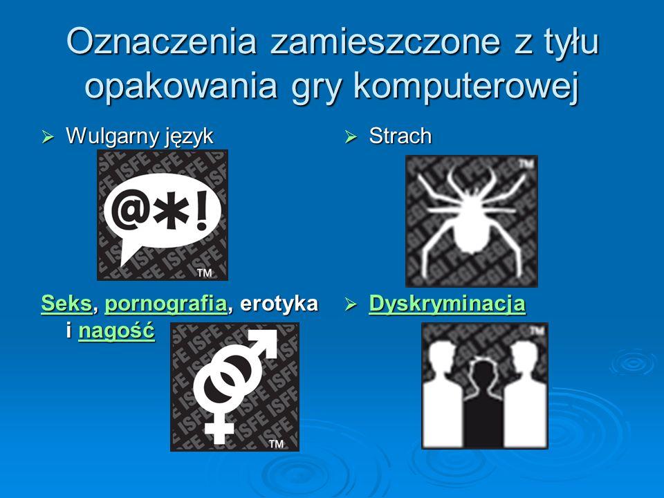 Oznaczenia zamieszczone z tyłu opakowania gry komputerowej  Strach SeksSeks, pornografia, erotyka i nagość pornografianagość Sekspornografianagość 