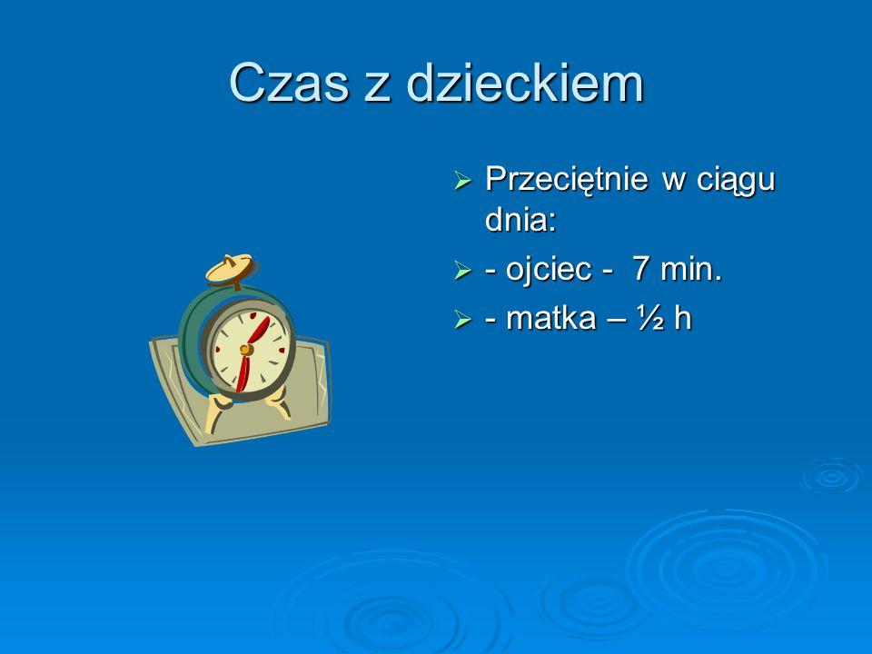 Czas z dzieckiem  Przeciętnie w ciągu dnia:  - ojciec - 7 min.  - matka – ½ h