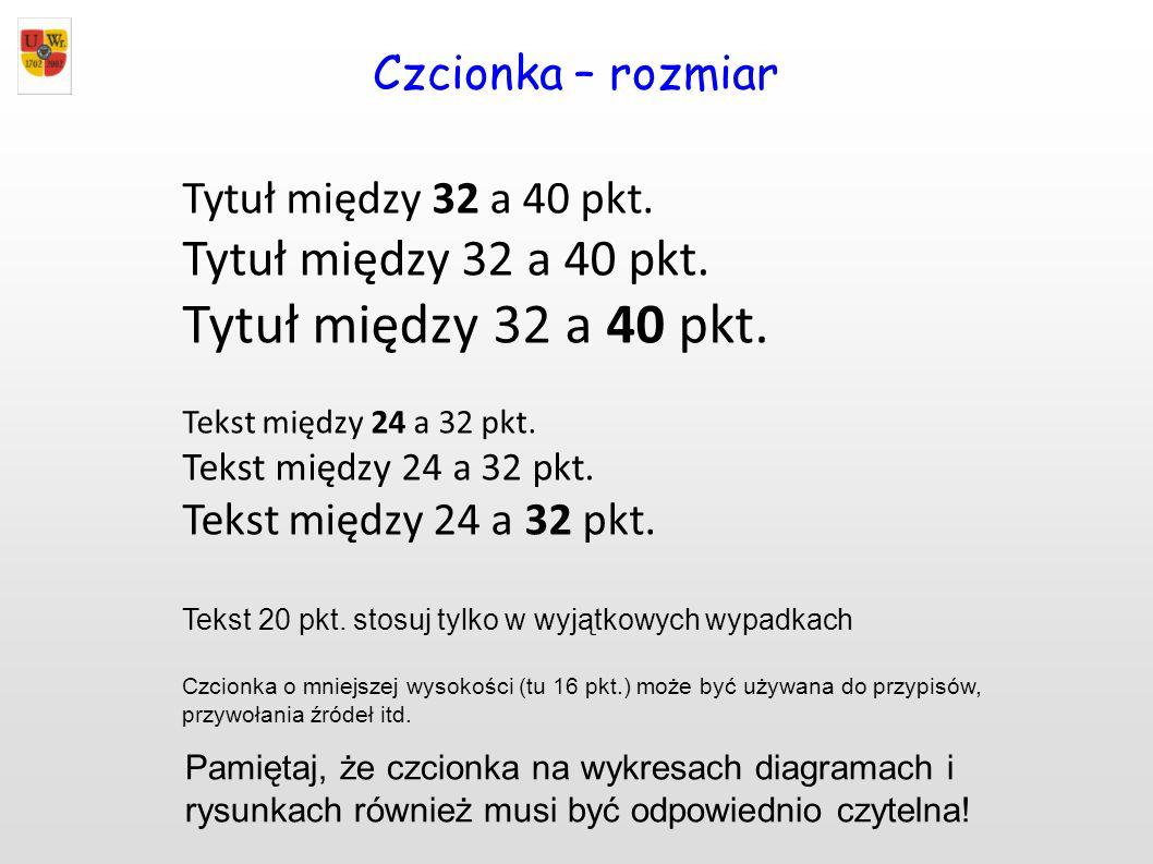 Czcionka – rozmiar Tytuł między 32 a 40 pkt. Tekst między 24 a 32 pkt. Tekst 20 pkt. stosuj tylko w wyjątkowych wypadkach Czcionka o mniejszej wysokoś