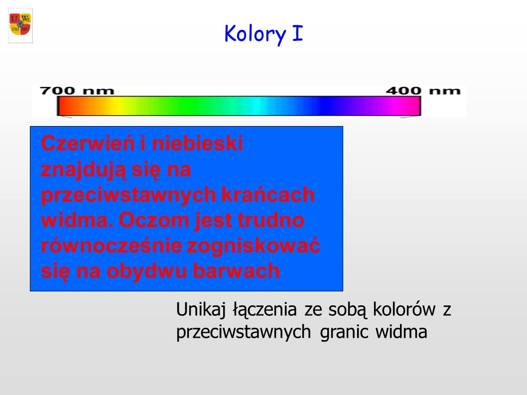 Kolory I Unikaj łączenia ze sobą kolorów z przeciwstawnych granic widma Czerwień i niebieski znajdują się na przeciwstawnych krańcach widma. Oczom jes