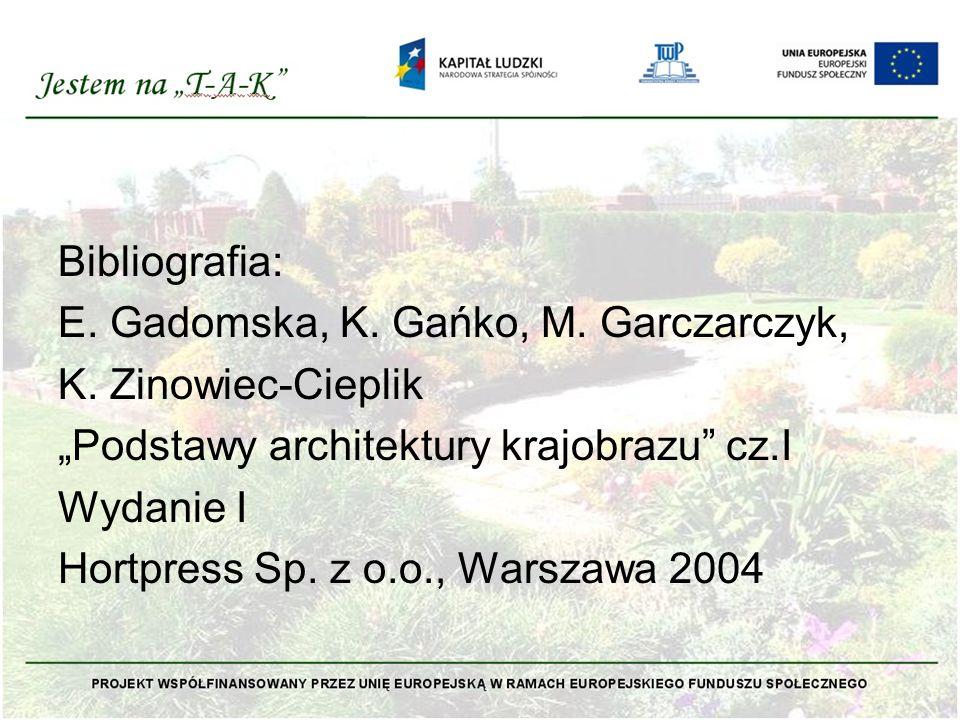 """Bibliografia: E. Gadomska, K. Gańko, M. Garczarczyk, K. Zinowiec-Cieplik """"Podstawy architektury krajobrazu"""" cz.I Wydanie I Hortpress Sp. z o.o., Warsz"""