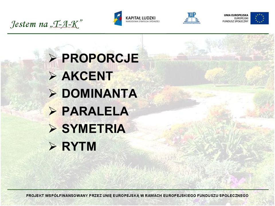  PROPORCJE  AKCENT  DOMINANTA  PARALELA  SYMETRIA  RYTM