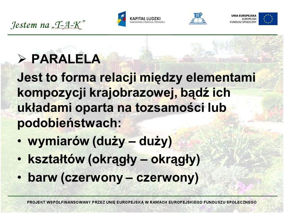  PARALELA Jest to forma relacji między elementami kompozycji krajobrazowej, bądź ich układami oparta na tozsamości lub podobieństwach: wymiarów (duży