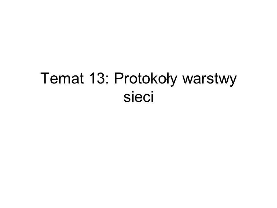 Temat 13: Protokoły warstwy sieci