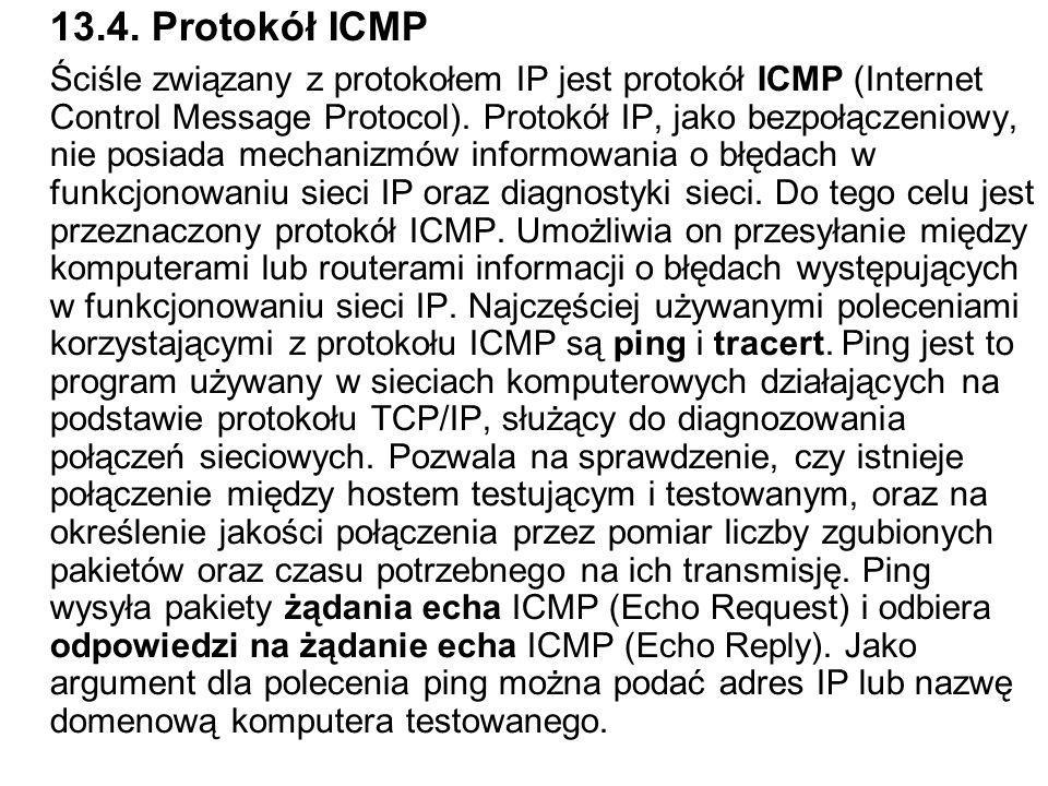 13.4. Protokół ICMP Ściśle związany z protokołem IP jest protokół ICMP (Internet Control Message Protocol). Protokół IP, jako bezpołączeniowy, nie pos