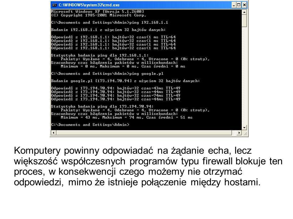 Komputery powinny odpowiadać na żądanie echa, lecz większość współczesnych programów typu firewall blokuje ten proces, w konsekwencji czego możemy nie