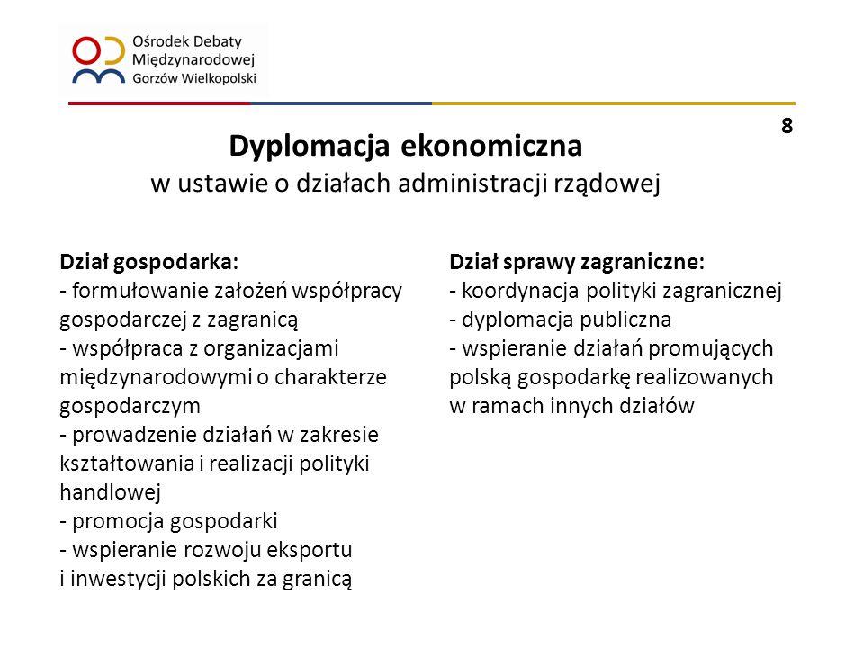9 Zadania dyplomacji ekonomicznej realizowane są przez wydziały podległe dwóm odrębnym resortom: Ministerstwu Spraw Zagranicznych oraz Ministerstwu Gospodarki