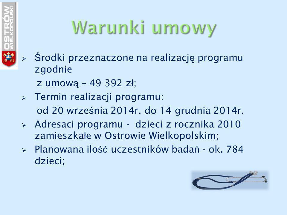  Ś rodki przeznaczone na realizacj ę programu zgodnie z umow ą – 49 392 z ł ;  Termin realizacji programu: od 20 wrze ś nia 2014r.