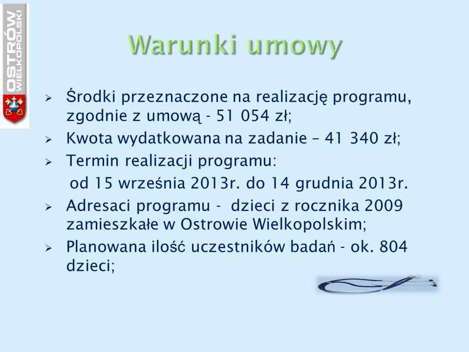  Ś rodki przeznaczone na realizacj ę programu, zgodnie z umow ą - 51 054 z ł ;  Kwota wydatkowana na zadanie – 41 340 z ł ;  Termin realizacji prog