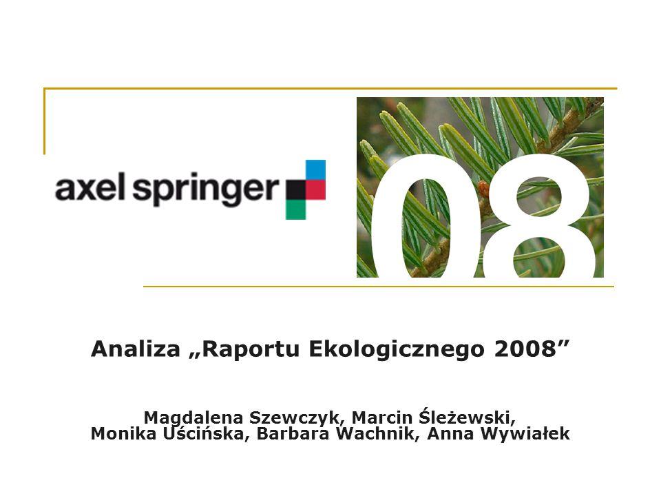 """Analiza """"Raportu Ekologicznego 2008 Magdalena Szewczyk, Marcin Śleżewski, Monika Uścińska, Barbara Wachnik, Anna Wywiałek"""