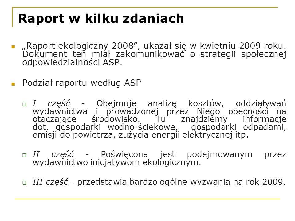 """Raport w kilku zdaniach """"Raport ekologiczny 2008 , ukazał się w kwietniu 2009 roku."""