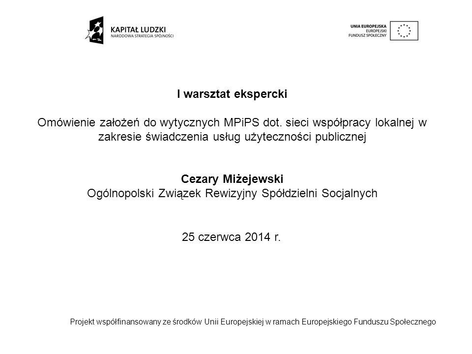 I warsztat ekspercki Omówienie założeń do wytycznych MPiPS dot. sieci współpracy lokalnej w zakresie świadczenia usług użyteczności publicznej Cezary