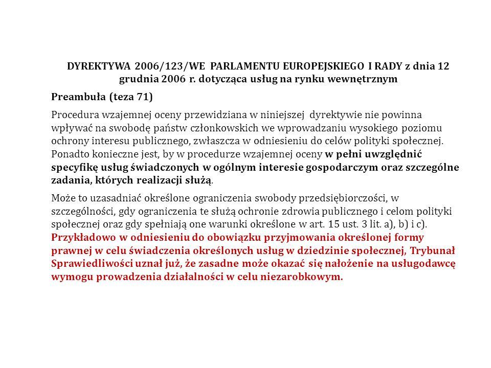 DYREKTYWA 2006/123/WE PARLAMENTU EUROPEJSKIEGO I RADY z dnia 12 grudnia 2006 r. dotycząca usług na rynku wewnętrznym Preambuła (teza 71) Procedura wza