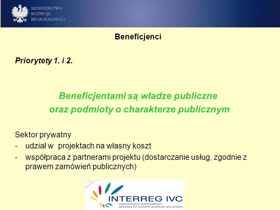 Beneficjenci Priorytety 1. i 2.