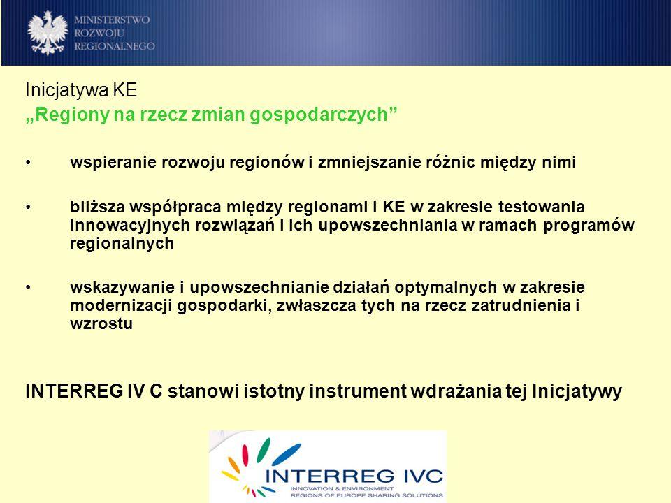 INTERREG IV C – priorytety tematyczne Priorytet 1: Innowacyjność i gospodarka oparta na wiedzy Priorytet 2: Środowisko naturalne i zapobieganie ryzyku