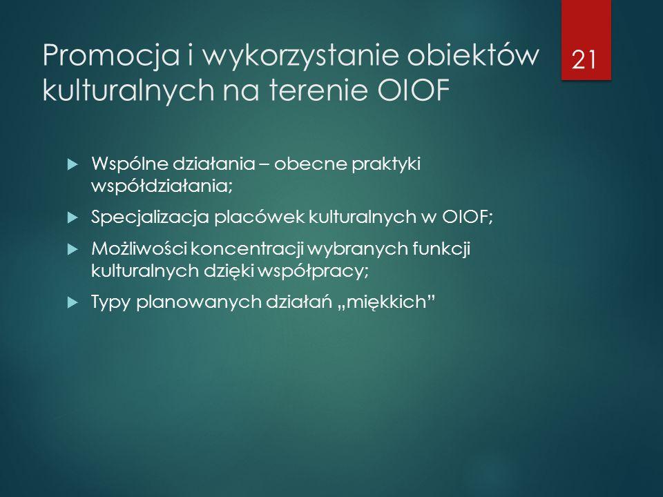 Promocja i wykorzystanie obiektów kulturalnych na terenie OIOF  Wspólne działania – obecne praktyki współdziałania;  Specjalizacja placówek kultural