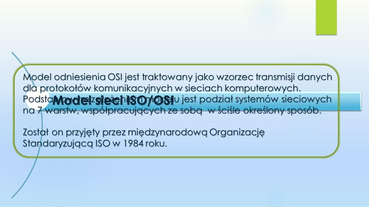 Model sieci ISO/OSI Model odniesienia OSI jest traktowany jako wzorzec transmisji danych dla protokołów komunikacyjnych w sieciach komputerowych.