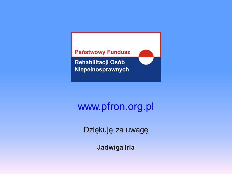 www.pfron.org.pl Dziękuję za uwagę Jadwiga Irla