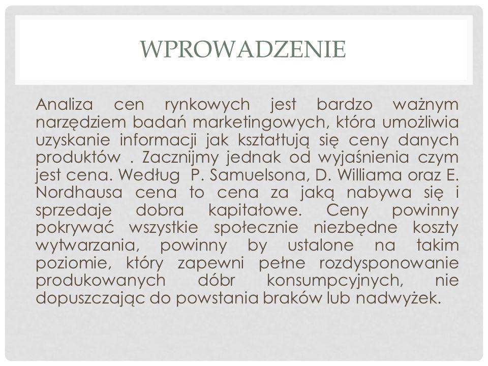 BIBLIOGRAFIA http://analytics.inse.pl/produkty/produkty-branze/ceny-na-rynku http://mfiles.pl/pl/index.php/Cena http://moto.money.pl/ceny-paliw/ http://www.e-petrol.pl/notowania/rynki-zagraniczne/stacje-paliw- europa http://pbs.pl/e4u.php/1,ModPages/ShowPage/957 http://www.indicator.pl/index.php?id=157 http://www.abrsesta.com/oferta/badania-konsumenckie/badania- cen.html