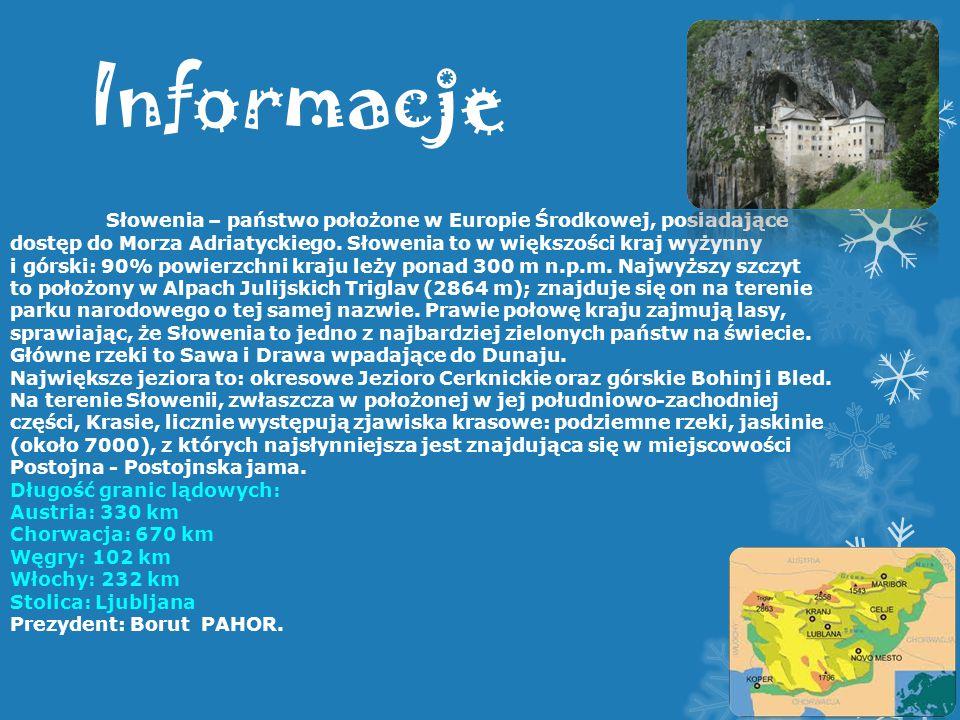 Informacje Słowenia – państwo położone w Europie Środkowej, posiadające dostęp do Morza Adriatyckiego. Słowenia to w większości kraj wyżynny i górski: