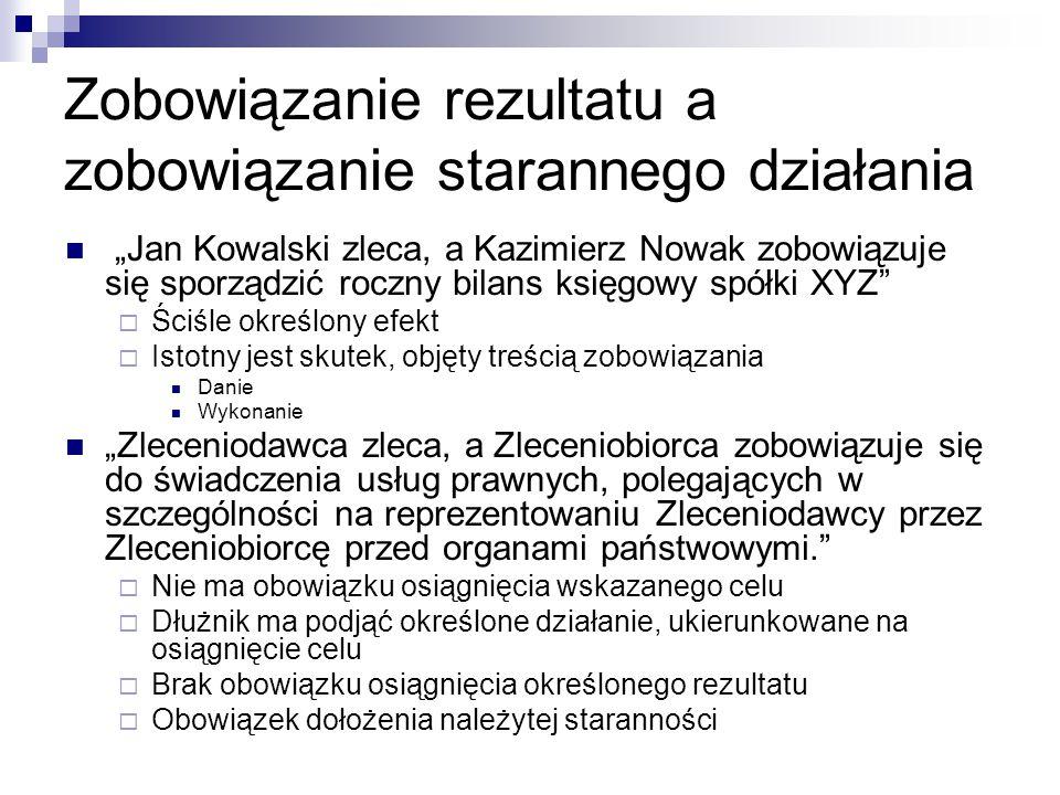 """Zobowiązanie rezultatu a zobowiązanie starannego działania """"Jan Kowalski zleca, a Kazimierz Nowak zobowiązuje się sporządzić roczny bilans księgowy sp"""