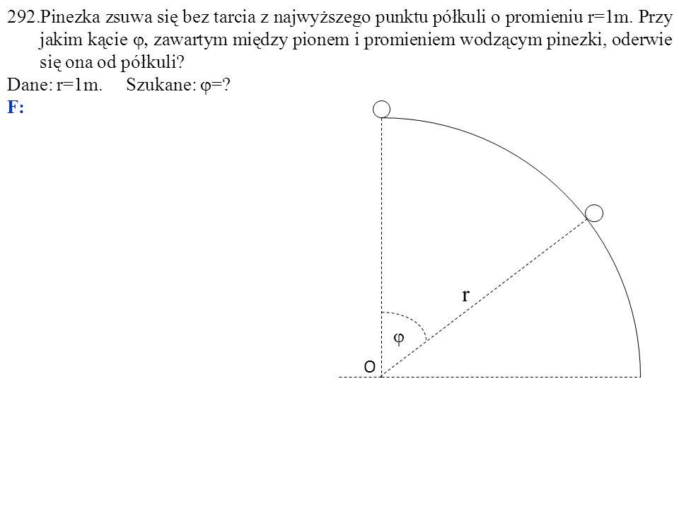 292.Pinezka zsuwa się bez tarcia z najwyższego punktu półkuli o promieniu r=1m. Przy jakim kącie  zawartym między pionem i promieniem wodzącym pinez