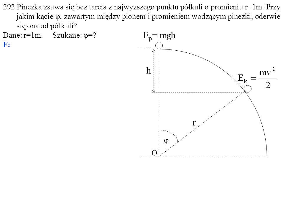292.Pinezka zsuwa się bez tarcia z najwyższego punktu półkuli o promieniu r=1m. Przy jakim kącie  zawartym między pionem i promieniem wodzącym pine
