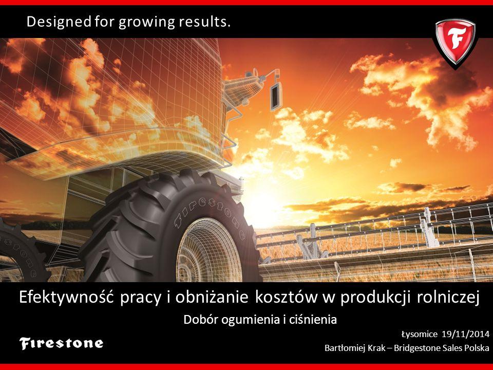 Designed for growing results. Efektywność pracy i obniżanie kosztów w produkcji rolniczej Dobór ogumienia i ciśnienia Łysomice 19/11/2014 Bartłomiej K