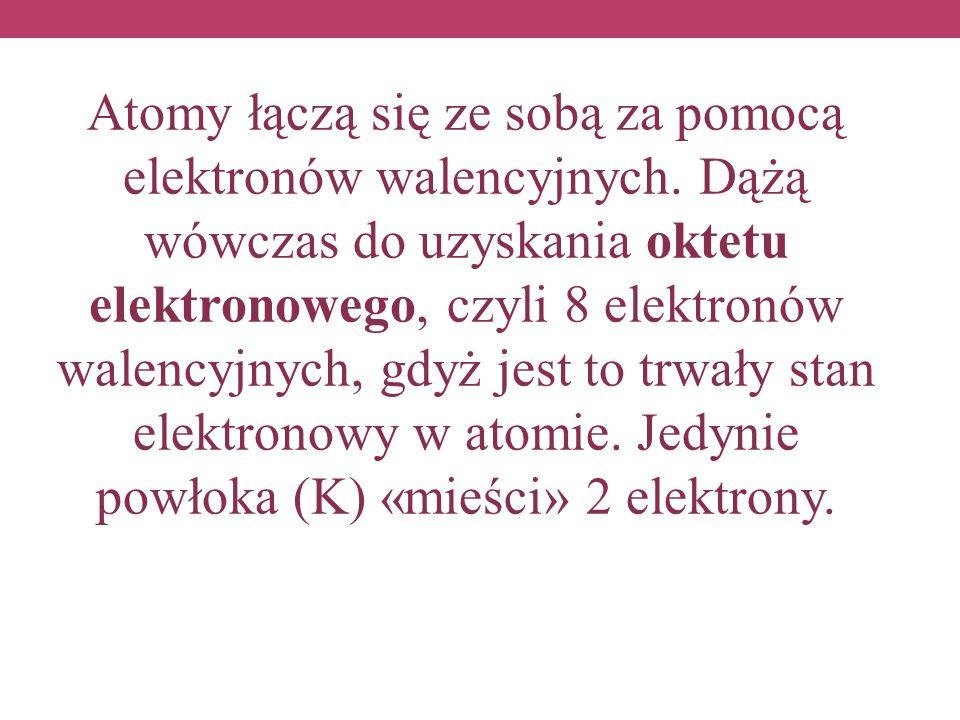 Atomy łączą się ze sobą za pomocą elektronów walencyjnych. Dążą wówczas do uzyskania oktetu elektronowego, czyli 8 elektronów walencyjnych, gdyż jest