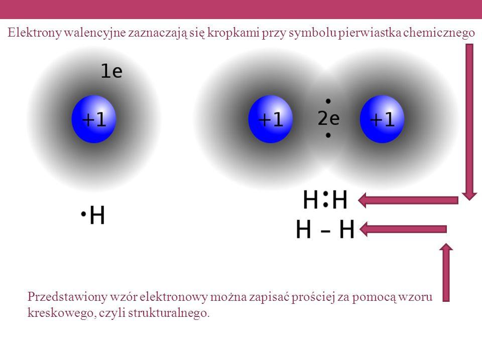 Elektrony walencyjne zaznaczają się kropkami przy symbolu pierwiastka chemicznego Przedstawiony wzór elektronowy można zapisać prościej za pomocą wzoru kreskowego, czyli strukturalnego.