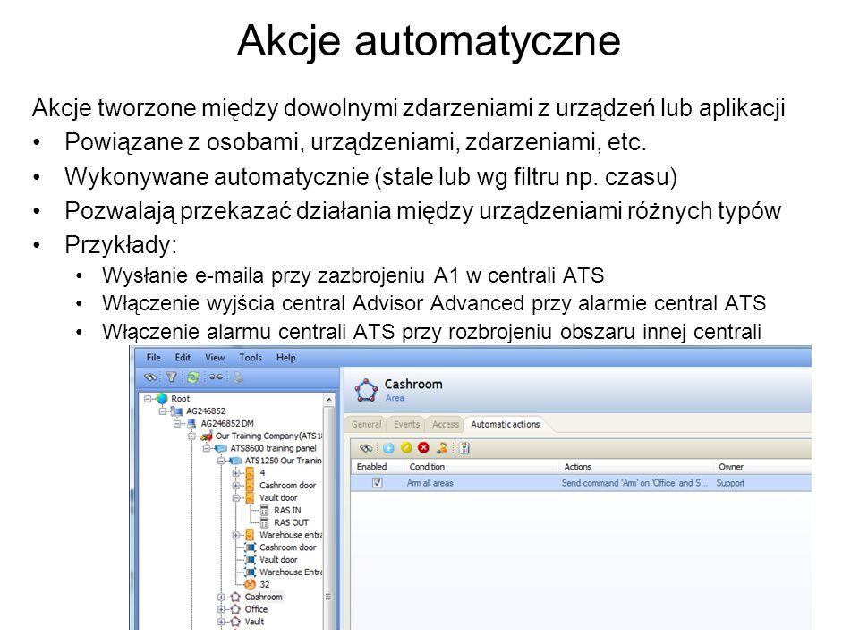 Akcje automatyczne Akcje tworzone między dowolnymi zdarzeniami z urządzeń lub aplikacji Powiązane z osobami, urządzeniami, zdarzeniami, etc. Wykonywan