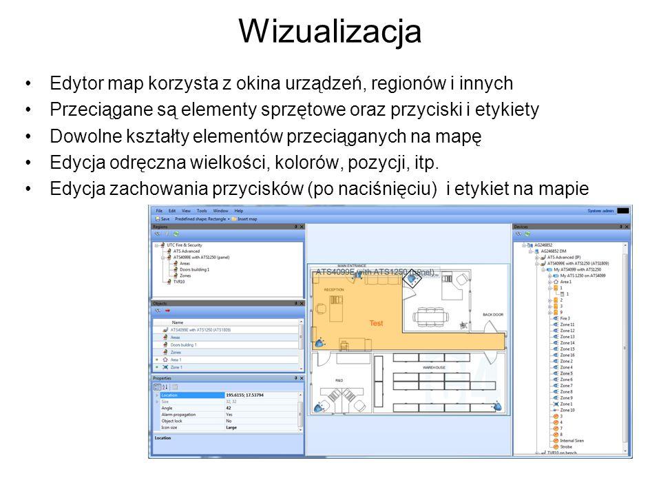 Wizualizacja Edytor map korzysta z okina urządzeń, regionów i innych Przeciągane są elementy sprzętowe oraz przyciski i etykiety Dowolne kształty elementów przeciąganych na mapę Edycja odręczna wielkości, kolorów, pozycji, itp.